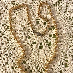 Vintage Faux Gold Pearl Necklace